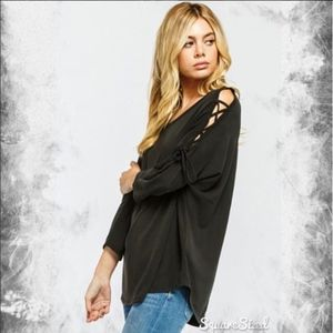 Tops - NEW Black 3/4 Sleeve Open Shoulder Lace Up Top